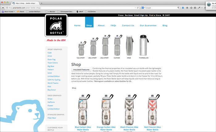 Polar Bottle ECommerce Website